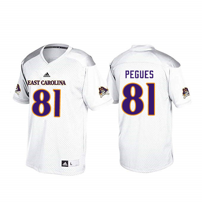 Men #81 Andre Pegues ECU Pirates College Football Jerseys Sale-White
