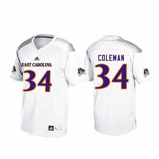 Men #34 Cam Coleman ECU Pirates College Football Jerseys Sale-White