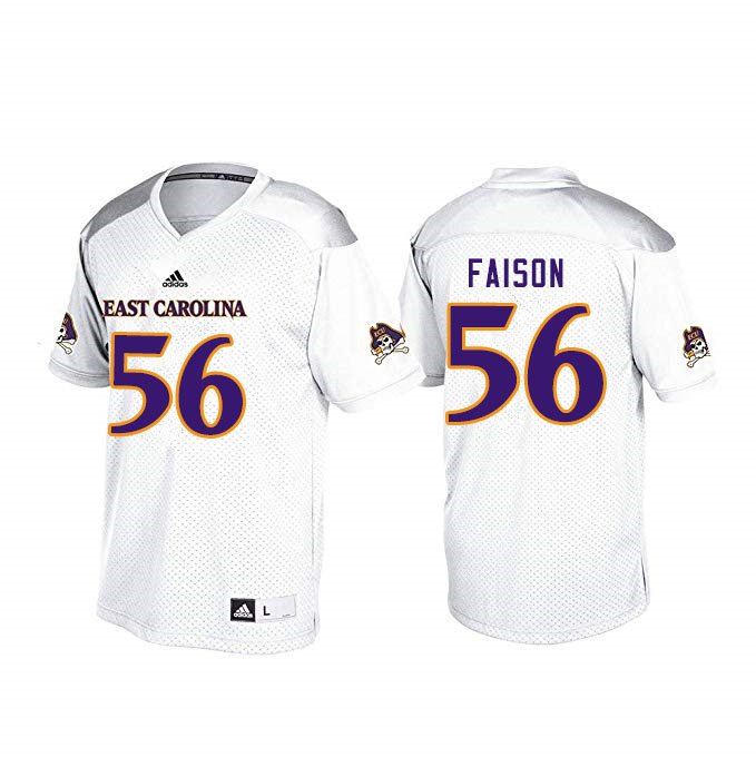 Men #56 Damir Faison ECU Pirates College Football Jerseys Sale-White