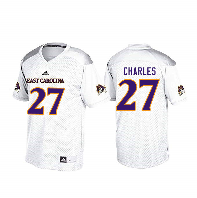 Men #27 Daniel Charles ECU Pirates College Football Jerseys Sale-White