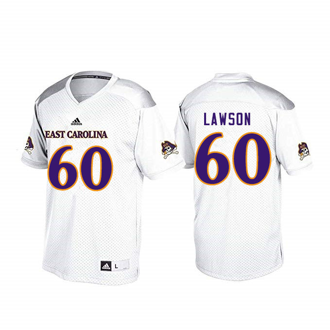 Men #60 Erik Lawson ECU Pirates College Football Jerseys Sale-White