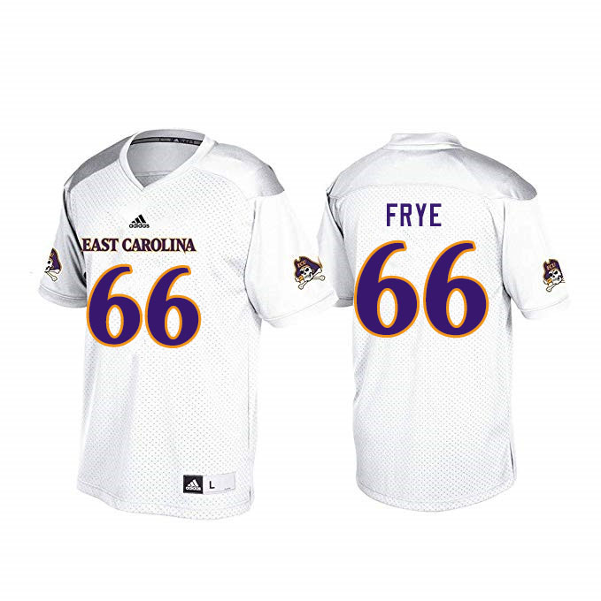 Men #66 Fernando Frye ECU Pirates College Football Jerseys Sale-White