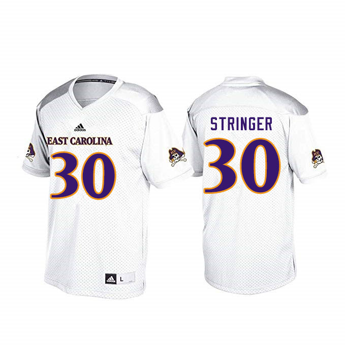 Men #30 Gerard Stringer ECU Pirates College Football Jerseys Sale-White