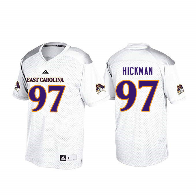 Men #97 Immanuel Hickman ECU Pirates College Football Jerseys Sale-White