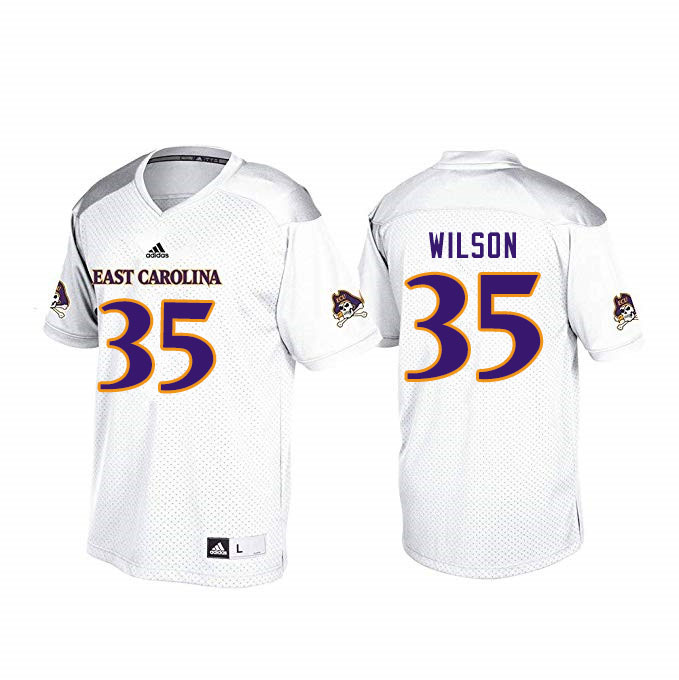 Men #35 Jireh Wilson ECU Pirates College Football Jerseys Sale-White