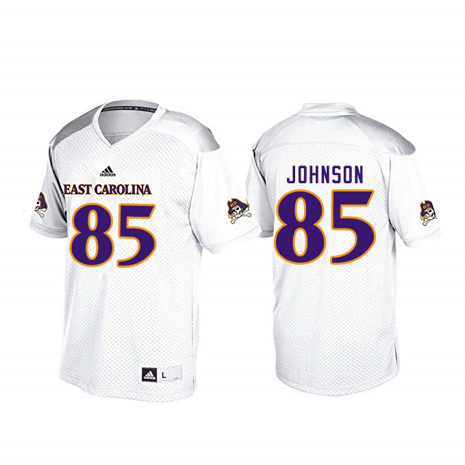 Men #85 Jonathan Johnson ECU Pirates College Football Jerseys Sale-White