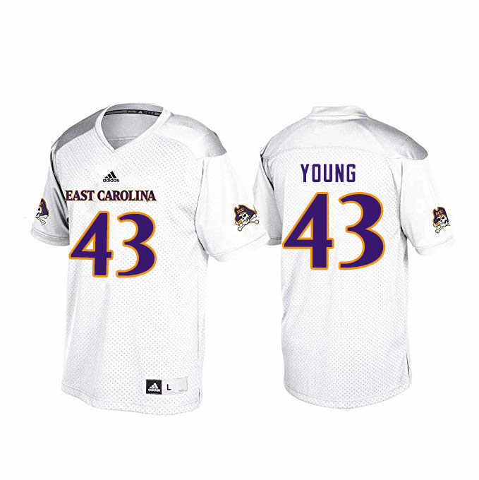 Men #43 Jonn Young ECU Pirates College Football Jerseys Sale-White