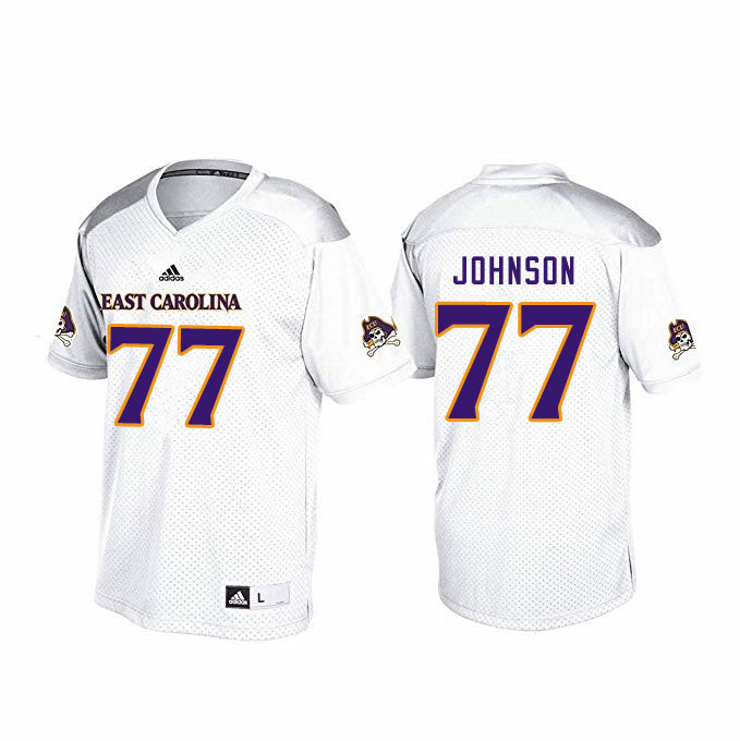 Men #77 Jordan Johnson ECU Pirates College Football Jerseys Sale-White