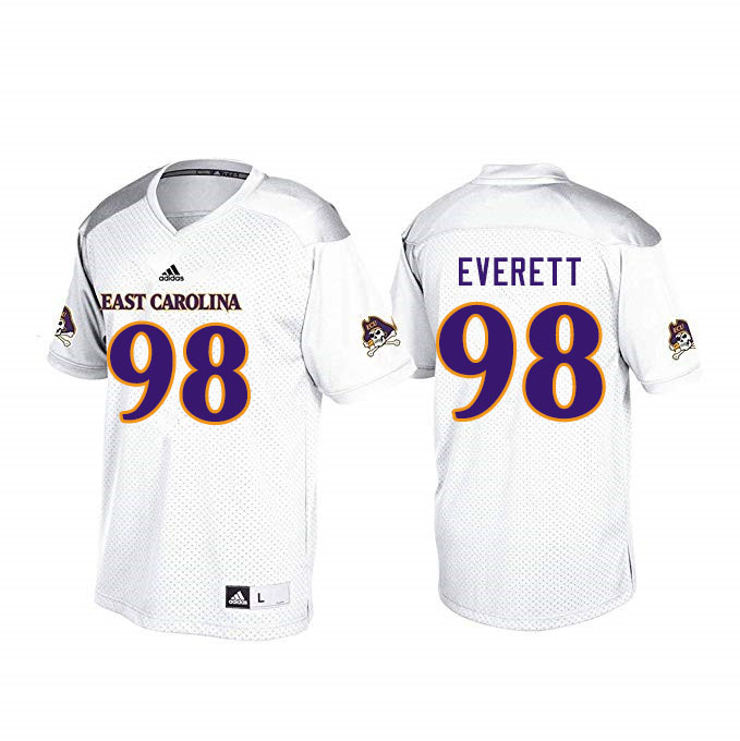 Men #98 Keziah Everett ECU Pirates College Football Jerseys Sale-White
