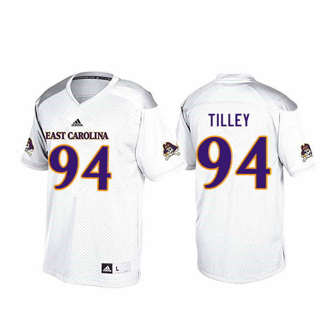 Men #94 Michael Tilley ECU Pirates College Football Jerseys Sale-White
