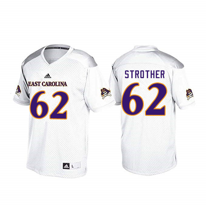 Men #62 Nishad Strother ECU Pirates College Football Jerseys Sale-White