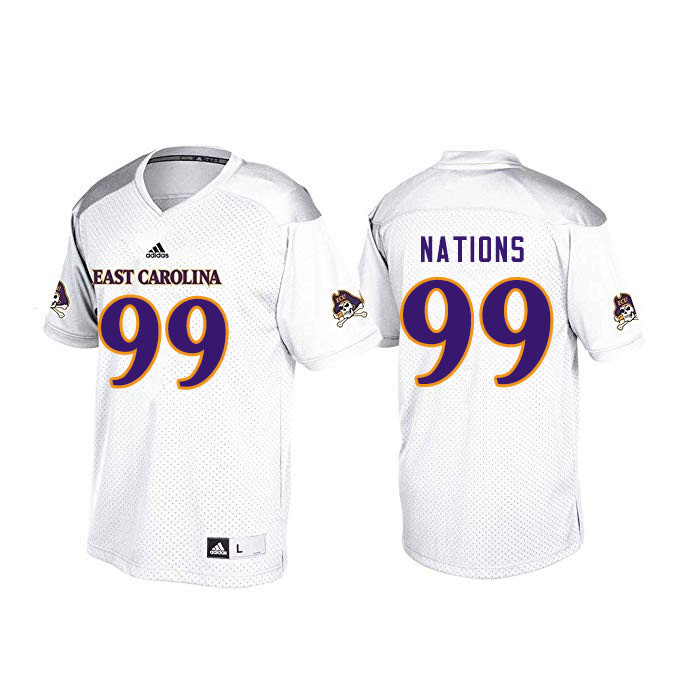 Men #99 Patrick Nations ECU Pirates College Football Jerseys Sale-White