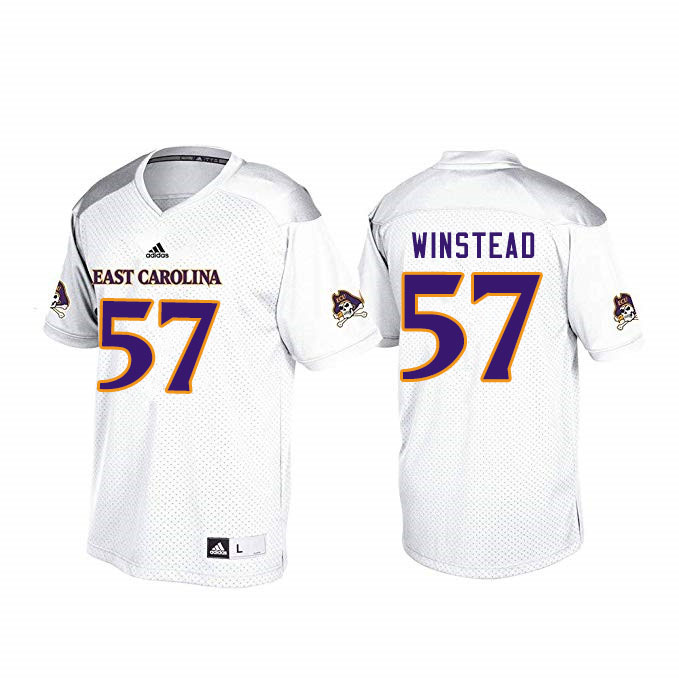 Men #57 Peyton Winstead ECU Pirates College Football Jerseys Sale-White