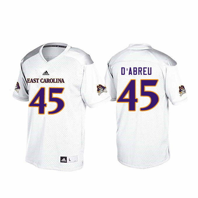 Men #45 Rick D'Abreu ECU Pirates College Football Jerseys Sale-White