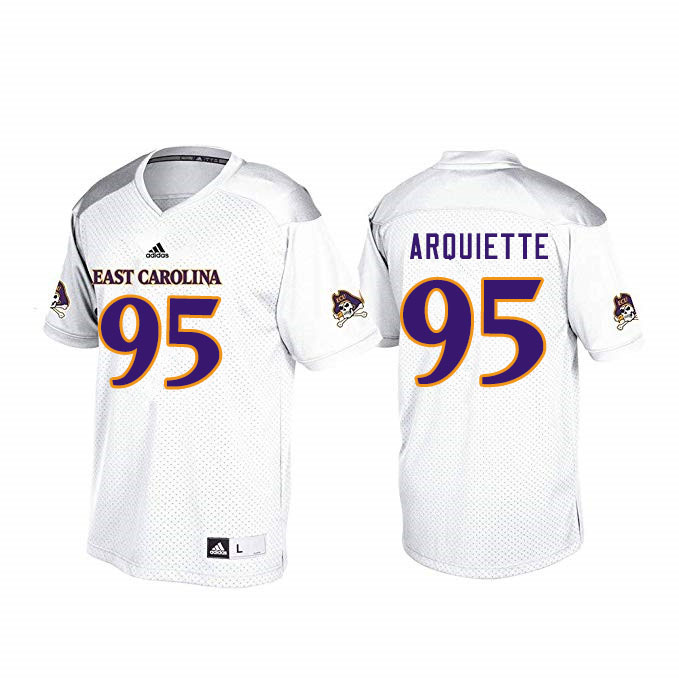 Men #95 Steve Arquiette ECU Pirates College Football Jerseys Sale-White