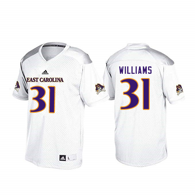 Men #31 Tay Williams ECU Pirates College Football Jerseys Sale-White