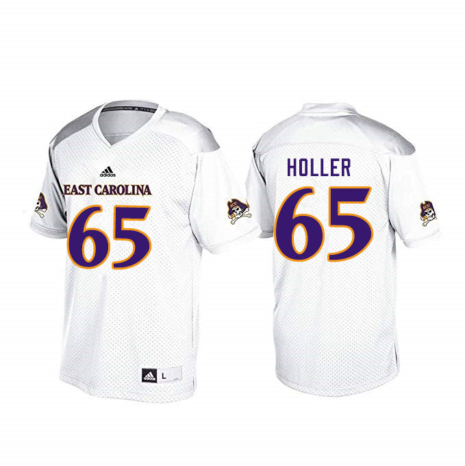 Men #65 Trent Holler ECU Pirates College Football Jerseys Sale-White