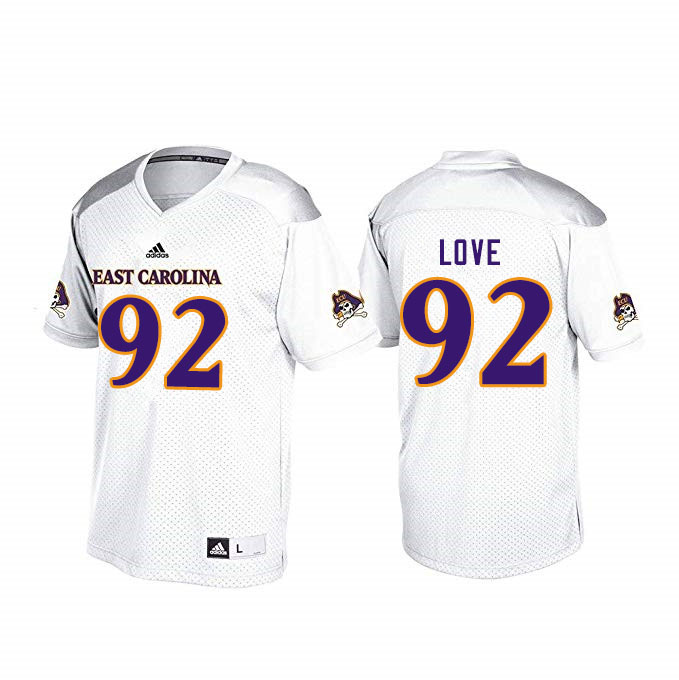 Men #92 Trey Love ECU Pirates College Football Jerseys Sale-White