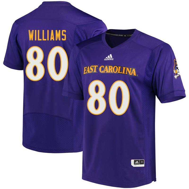 Men #80 Bryce Williams East Carolina Pirates College Football Jerseys Sale-Purple