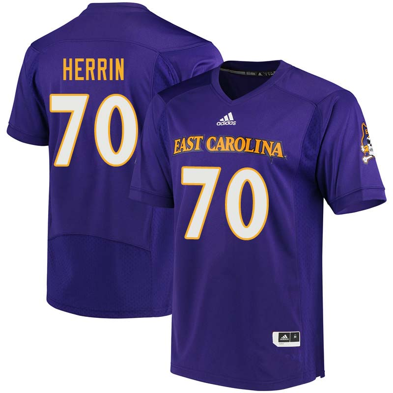 Men #70 Cortez Herrin East Carolina Pirates College Football Jerseys Sale-Purple