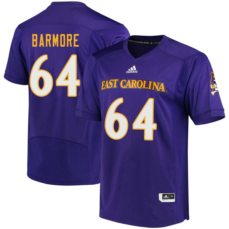 Men #64 Des Barmore East Carolina Pirates College Football Jerseys Sale-Purple