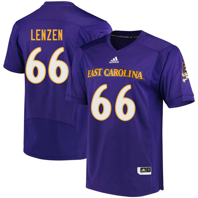 Men #66 Erik Lenzen East Carolina Pirates College Football Jerseys Sale-Purple