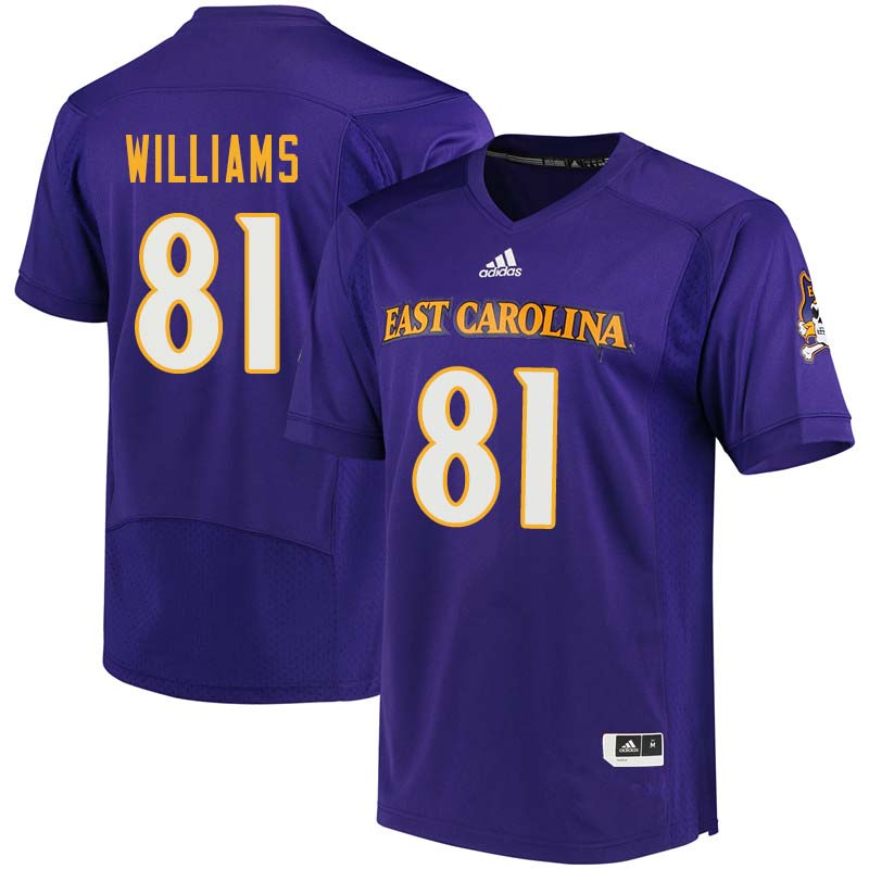 Men #81 Jimmy Williams East Carolina Pirates College Football Jerseys Sale-Purple