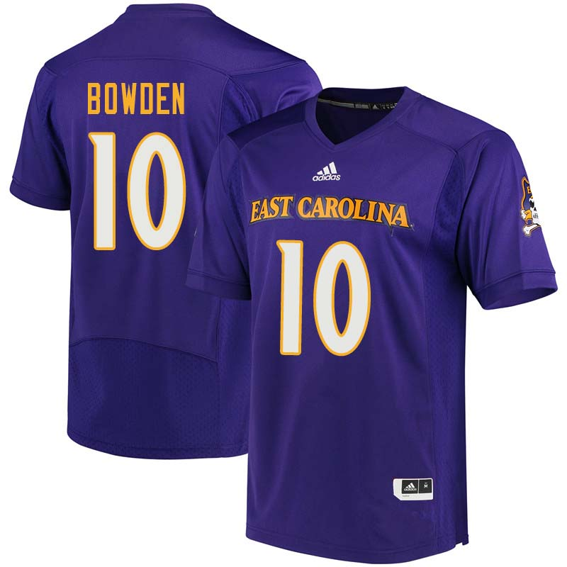 Men #10 Yiannis Bowden East Carolina Pirates College Football Jerseys Sale-Purple