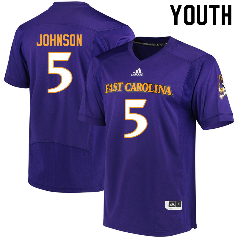 Youth #5 C.J. Johnson ECU Pirates College Football Jerseys Sale-Purple