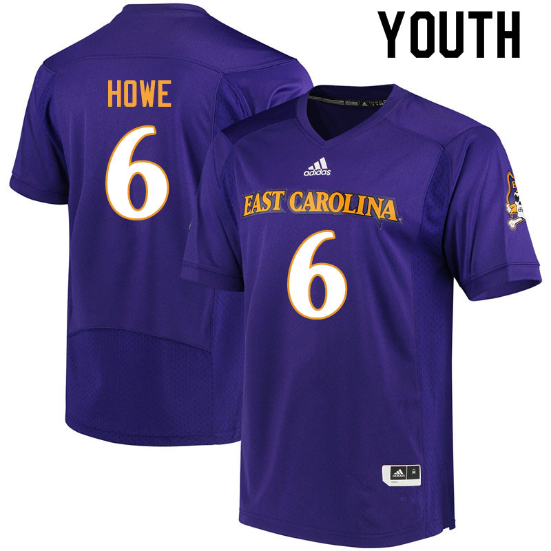 Youth #6 Hussein Howe ECU Pirates College Football Jerseys Sale-Purple