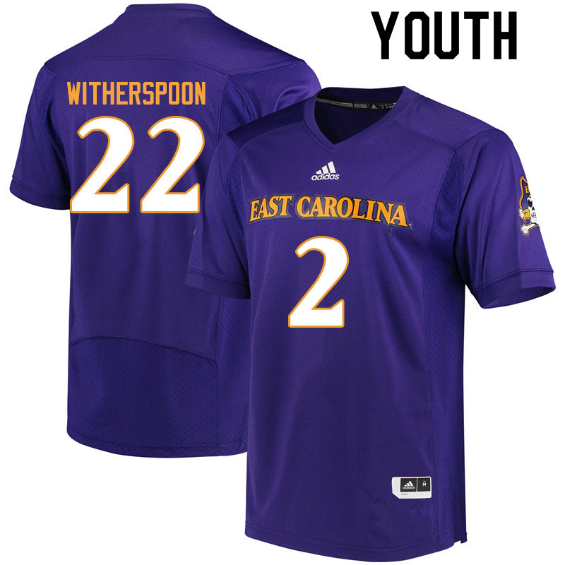 Youth #2 Michael Witherspoon ECU Pirates College Football Jerseys Sale-Purple