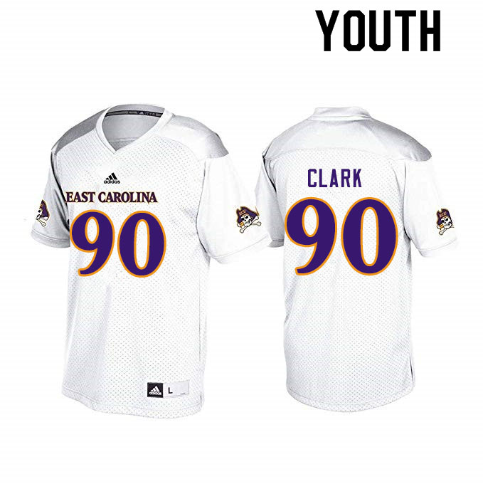 Youth #90 Nate Clark ECU Pirates College Football Jerseys Sale-White