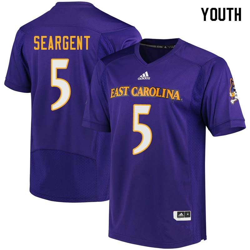 Youth #5 Corey Seargent East Carolina Pirates College Football Jerseys Sale-Purple