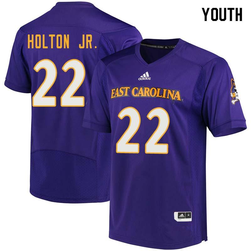 Youth #22 Marcus Holton Jr. East Carolina Pirates College Football Jerseys Sale-Purple
