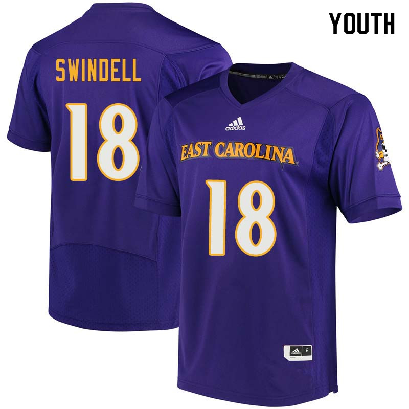 Youth #18 Norman Swindell East Carolina Pirates College Football Jerseys Sale-Purple