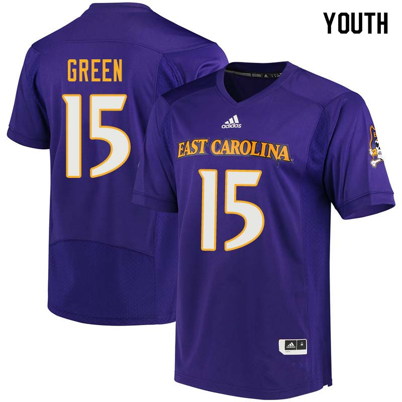 Youth #15 Terrell Green East Carolina Pirates College Football Jerseys Sale-Purple