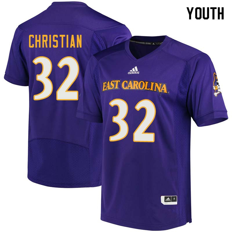 Youth #32 Trace Christian East Carolina Pirates College Football Jerseys Sale-Purple